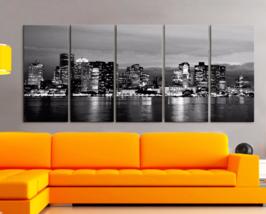"XLARGE 30""x 70"" 5 Panels Art Canvas Print Boston city Skyline night Blac... - $139.00"