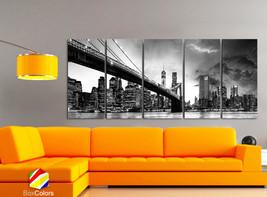 "XLARGE 30""x70"" 5 Panels Art Canvas Print beautiful Brooklyn Bridge Skyli... - $139.00"