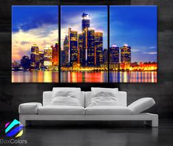 "LARGE 30""x 60"" 3 Panels Art Canvas Print Detroit Skyline Fullcolor night... - $116.00"