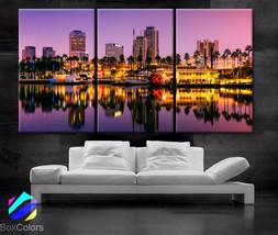 "LARGE 30""x 60"" 3 Panels Art Canvas Print Long Beach, California Skyline ... - $116.00"