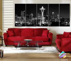 "XLARGE 30""x 70"" 5 Panels Art Canvas Print Seattle Washington night City ... - $139.00"