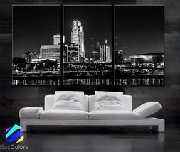 "LARGE 30""x 60"" 3 Panels Art Canvas Print beautiful Omaha Nebraska skylin... - $116.00"
