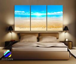 "LARGE 30""x 60"" 3 Panels Art Canvas Print Sunset Sea Beach Blue Turquesa ... - $116.00"