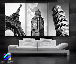 """LARGE 30""""x 60"""" 3 Panels Art Canvas Print City Tower Eiffel  Paris - Big ben - $116.00"""