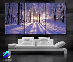 """LARGE 30""""x 60"""" 3  Panels Art Canvas Print beautiful Sunset Winter season... - $119.00"""