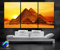 """LARGE 30""""x60"""" 3 Panels Art Canvas Print beautiful Egypt Pyramid Sunset W... - $116.00"""