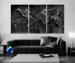 "LARGE 30""x60"" 3 Panels Art Canvas Print world Map Old Vintage Rustic Bla... - $116.00"