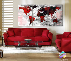 """LARGE 30""""x 60"""" 3 Panels Art Canvas Print Watercolor Texture Map Old bric... - $119.00"""