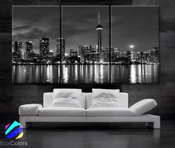 "LARGE 30""x 60"" 3 Panels Art Canvas Print beautiful Toronto Canada downto... - $119.00"