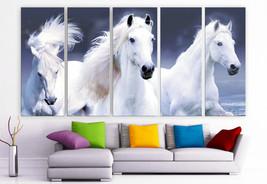 "XLARGE 30""x 70"" 5 Panels Art Canvas Print beautiful Horses white animals... - $139.00"
