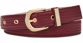 "Medium 34""Wine Designer Macy's Steve Madden Trapunto Stitch Belt 1-1/5"" - $17.77"