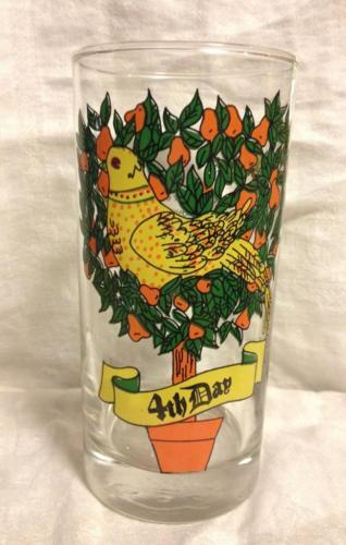 Indiana Glass 12 Days of Christmas 4th Day Four Colly Birds 12 0z