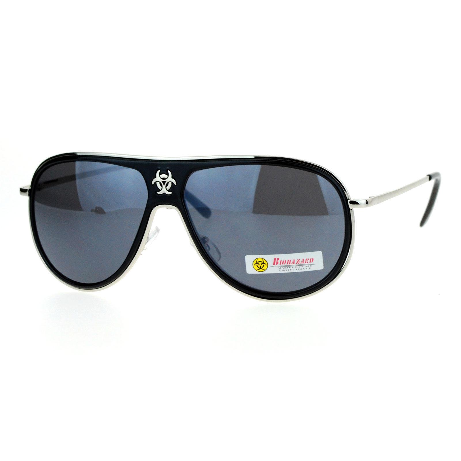 Biohazard Sunglasses Unisex Sports Round Racer Aviator Shades UV 400