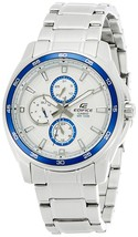 Casio EF334D-7A Men's Edifice Blue Bezel Silver Dial Dual Time Steel Watch - $229.42 CAD
