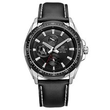 Casio Men's Edifice EF336L-1A1V Black Leather Quartz Watch with Black Dial - $320.43 CAD
