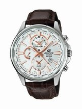 Casio Edifice EFR-304L-7A Men's Leather Band Dual Dial World Time Analog... - $208.55