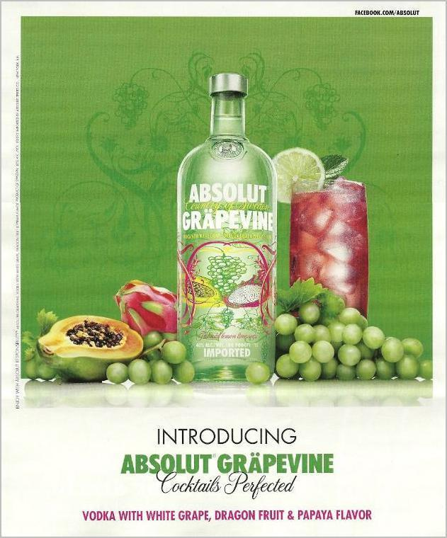 Primary image for ABSOLUT GRAPEVINE Vodka Magazine Product Launch Ad VERSION 1 - RARE!