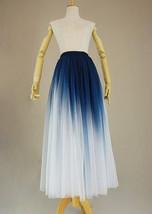 Women Blue White Dye Tulle Skirt A-line Tie Dye Long Tulle Skirt Evening Skirts  image 4