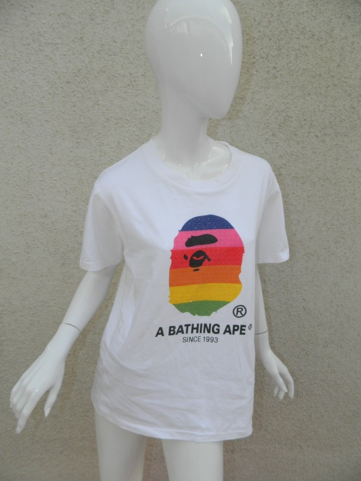 dc3d4a9b 57. 57. Previous. Bape A Bathing Ape T-shirt White Rainbow Face Logo Size  Medium · Bape A Bathing Ape T-shirt ...