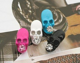 Cool Skull with Rhinestone Stud Earrings(Color:Black /White ) - $4.99