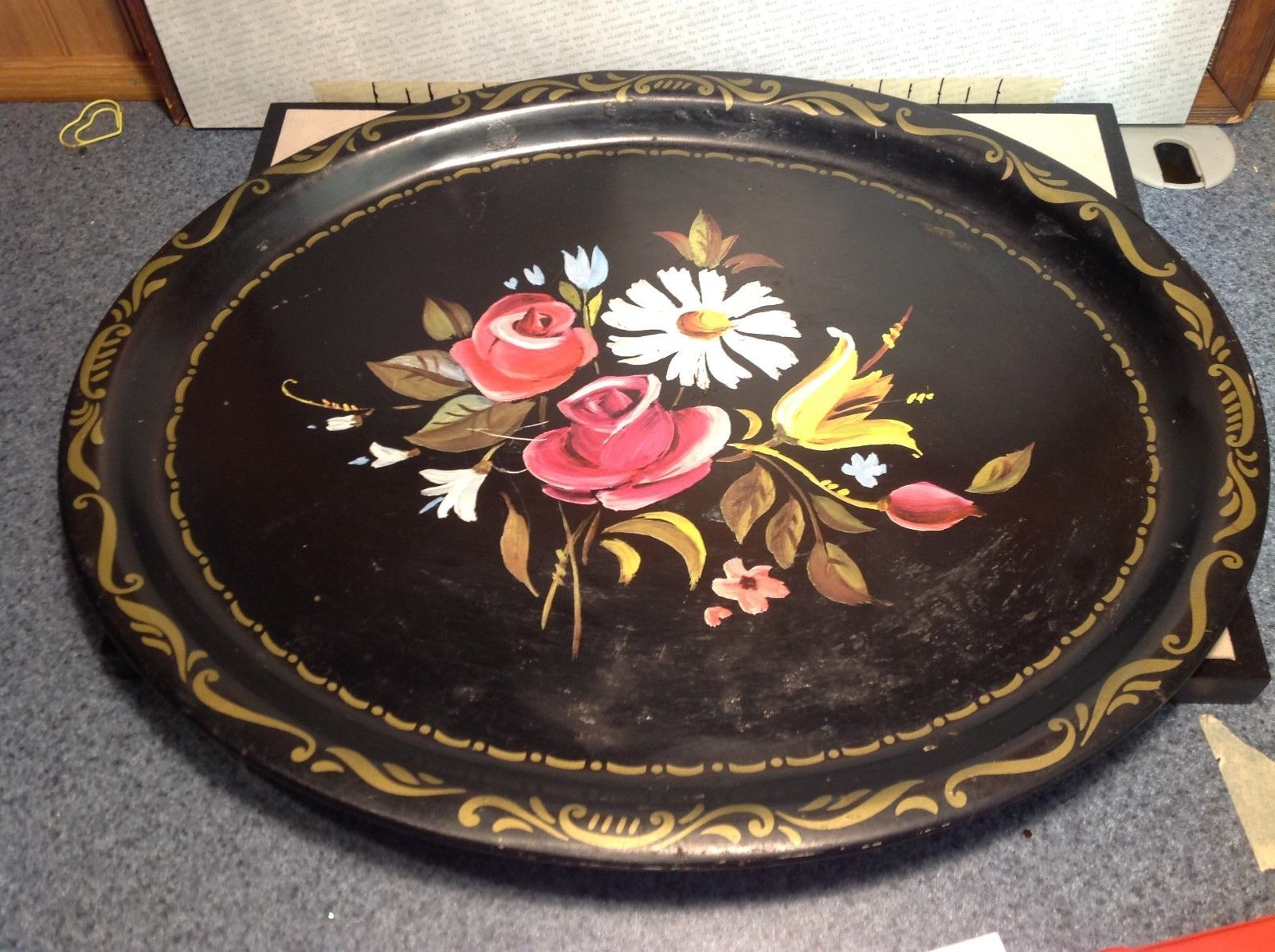 Vintage Metal Oval Serving Platter