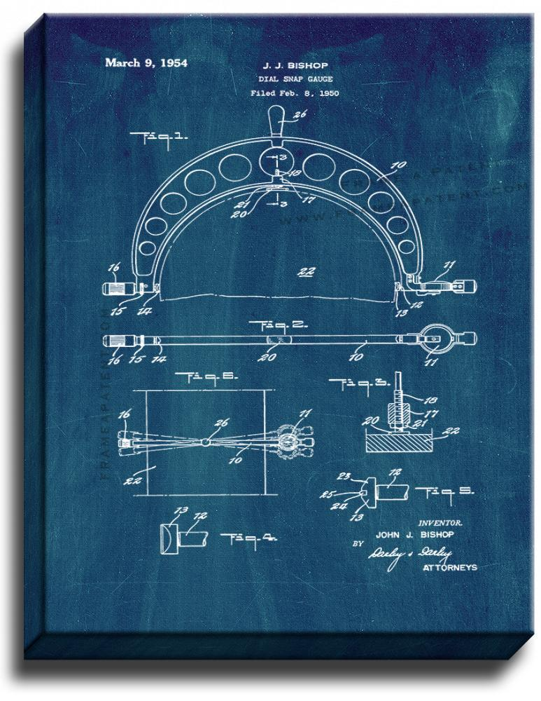 Primary image for Dial Snap Gauge Patent Print Midnight Blue on Canvas