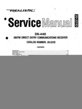 Realistic DX-440 Service Manual 20-221 + Owner's Manual pdf ebook on CD - $8.24