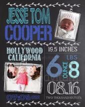 Custom Print Your Own Chalkboard Baby Birth Announcement Card Photo BOY ... - $7.83+