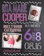 Custom Personalized Chalkboard Baby Birth Announcement Card Photo GIRL p... - $7.83+