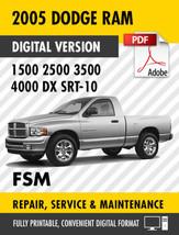 2005 Dodge Ram Truck 1500 2500 3500 4000 DX SRT-10 Factory Repair Service Manual - $9.90