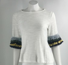 H&M Top Size XS White Blue Green Fringe Bell Sleeve Loose Fit Shirt Womens - $19.80