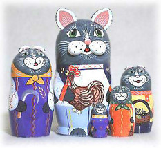 "Rooster Cat Family Nesting Doll - 5"" w/ 5 Pieces - $56.00"