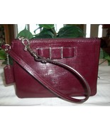 Coach Darcy Patent Bow Wristlet Wallet 52137 Textured Leather Sherry Bur... - $26.00