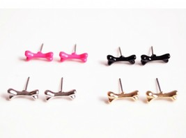 Super Cute Mini Bone Shaped Trendy Earrings(Color:Black /Gold /Rose red /Silver) - $4.99