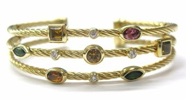 David Yurman 18Kt Multi Gem & Diamond 3-Row Cuff Bracelet Yellow Gold - $4,752.00