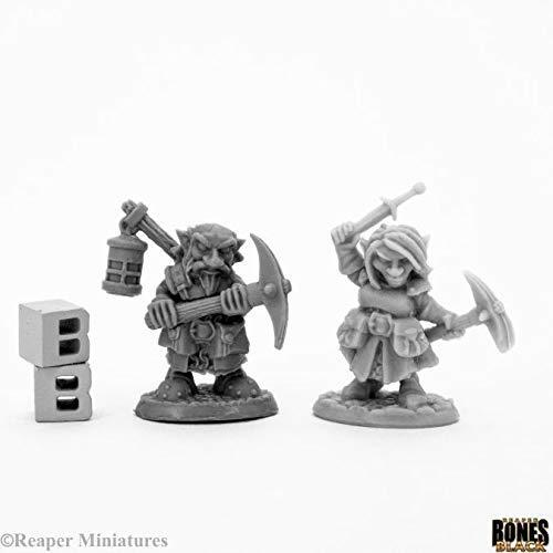 Reaper Miniatures Deep Gnome Heroes (2) #44047 Bones Black Unpainted Plastic - $7.49