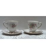 Vintage Johann Haviland Bridal Rose Pattern Demitasse Cups With Saucers - $12.00