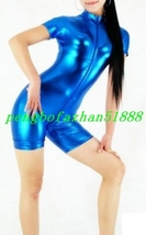 Sexy Blue Shiny Metallic Short Suit Catsuit Front Long Zipper Costumes S749 - $32.99