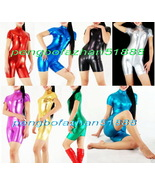 UNISEX 12 COLOR SHINY METALLIC SHORT SUIT CATSUIT FRONT LONG ZIP COSTUME... - $32.99