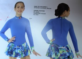 Mondor Model 4423 Polartec Skating Dress 2018- Techno Blue Dye Size 6x-7 - $89.00