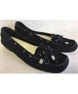 Michael Kors Women's Amber Moccasin Black Leather Loafer Flats Shoes Tassel - $59.99