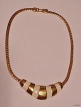 """Vintage NAPIER Choker Necklace Enamel w/ Bright Gold-tone Cap 15"""" - $19.99"""