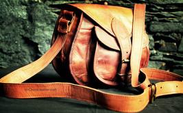 Vintage LEDER Braun Messenger tasche Schultertasche LEATHER Bag für Frauen - €17,70 EUR