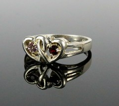 Vintage .925 Sterling Silver Signed OG Double Heart Stone Size 7.75 Ring... - €17,06 EUR