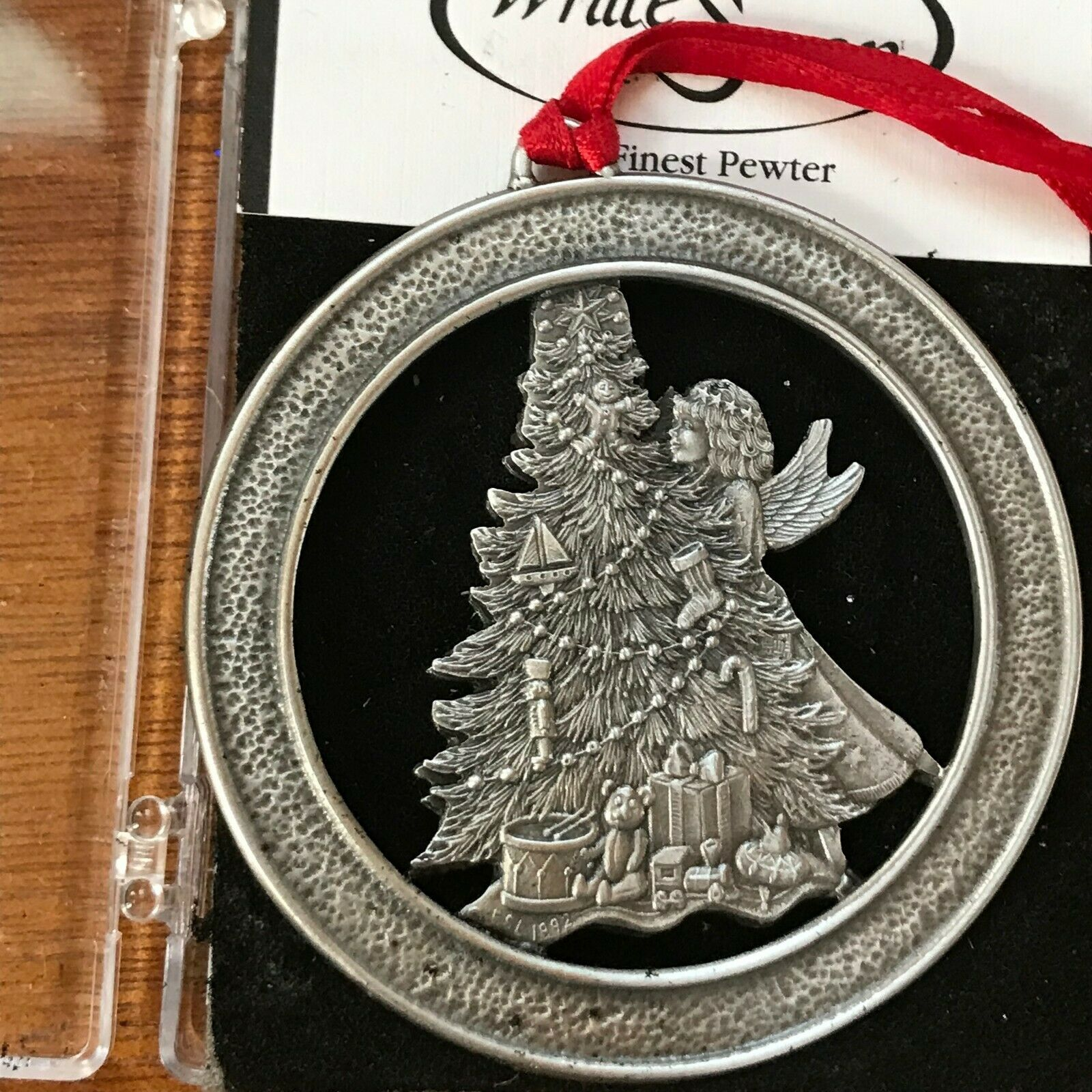 Estate Historic Downtown LaCrosse WI 1999 Pewter Christmas Tree Ornament w Angel