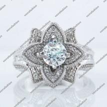 Round Sim.Diamond Lotus Flower Engagement Band Bridal Set 14k White Gold... - $87.96