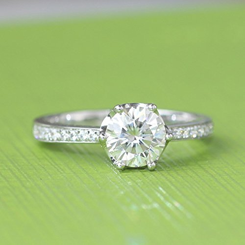 GOWE 14k 585 White Gold 1 Carat No Less Than GH Color Engagement Wedding Lab ...