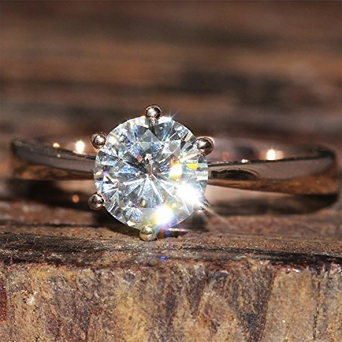 GOWE 1 Carat ct F Color Engagement Wedding Lab Grown Moissanite Diamond Ring ...