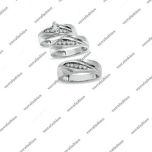 White GP Solid 925 Silver Sim Diamond Wedding Ring Set & Free Gift Free Shipping - $131.57