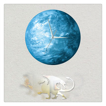 11.8in Luminous Moon Crescent Wall Decal Sticker Wall Clock with Pendulu... - $26.39